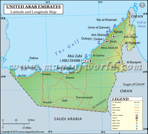 map of uae shows absolute and relative location
